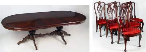 6: 6 ETHAN ALLEN MAHOGANY DINING CHAIRS AND TABLE