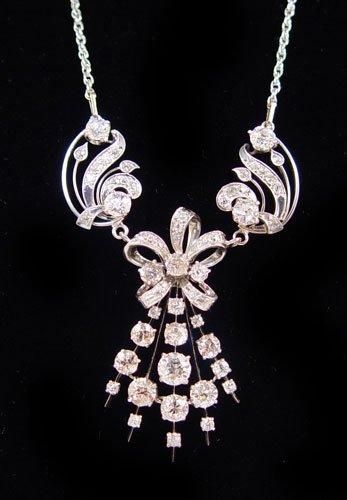 22: 8.12 Ctw PLATINUM DIAMOND GOLD LAVALIER NECKLACE