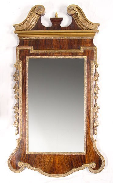 4: CHIPPENDALE STYLE SWAN NECK  MIRROR