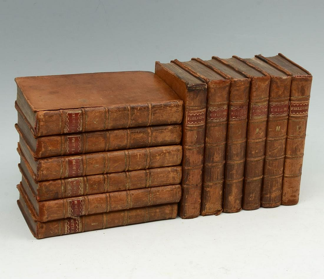"""12 VOL. """"THE WORKS OF HENRY FIELDING"""" LEATHER BOUND BOO"""