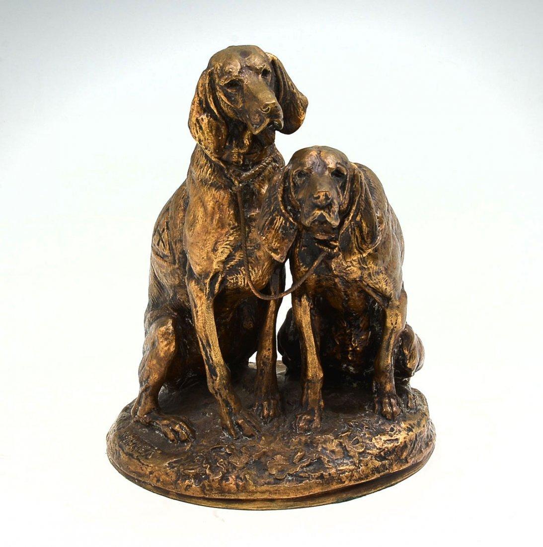 EMMANUEL FREMIET BRONZE TWO DOGS