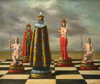 RAYMOND WHYTE SURREAL CHESS NUDES PAINTING