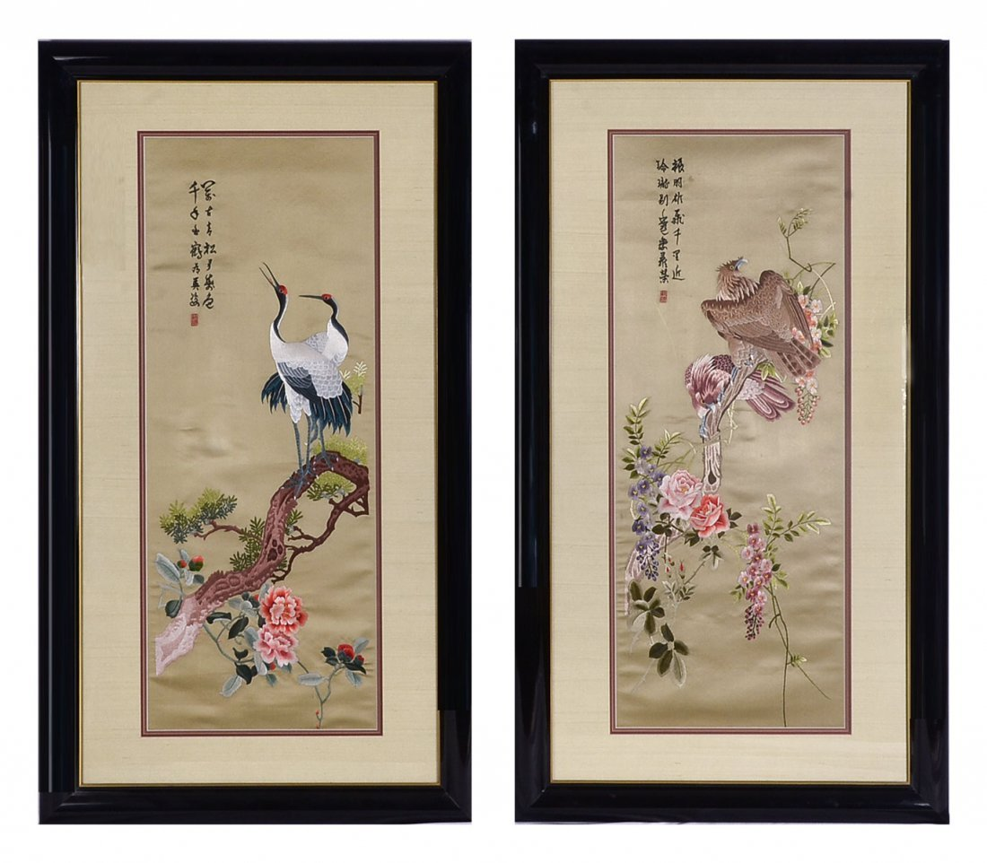 PAIR OF FINE SIGNED SILK EMBROIDERIES CRANES AND EAGLES