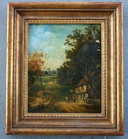 1010: A OLIVER 19TH C EUROPEAN VILLAGE PAINTING