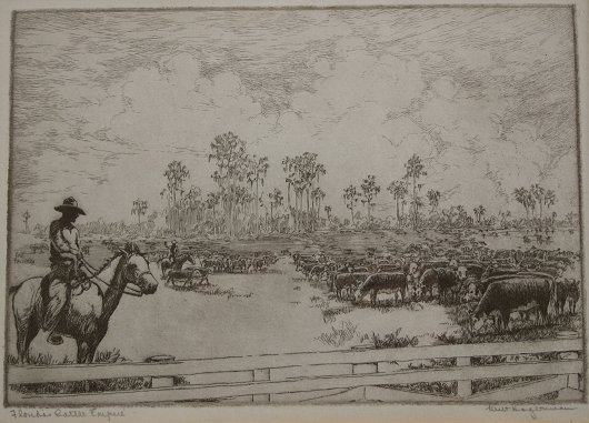 1154: 9 PIECE KENT HAGERMAN FLORIDA ARTIST ETCHING LOT - 8