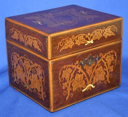 1003: MARQUETRY INLAID KEEPSAKE BOX