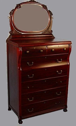 1016: EARLY 20TH C MAHOGANY TALL CHEST WITH MIRROR
