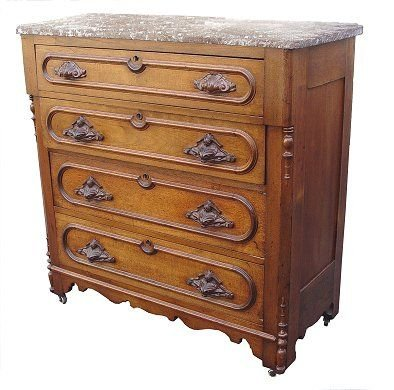 1023: VICTORIAN MARBLE TOP FOUR DRAWER CHEST
