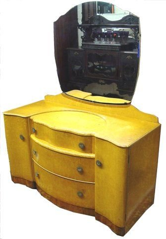 1024: BIRD'S EYE MAPLE ART DECO LOW DRESSER WITH MIRRO