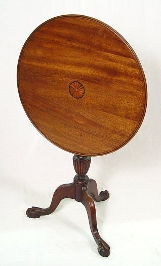 1006: TILT TOP INLAY MAHOGANY TABLE