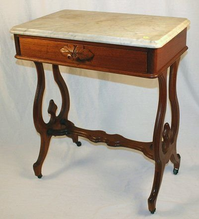 1008: VICTORIAN WALNUT MARBLE TOP STAND