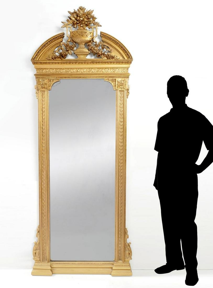 LARGE FRENCH VICTORIAN GILT PIER MIRROR