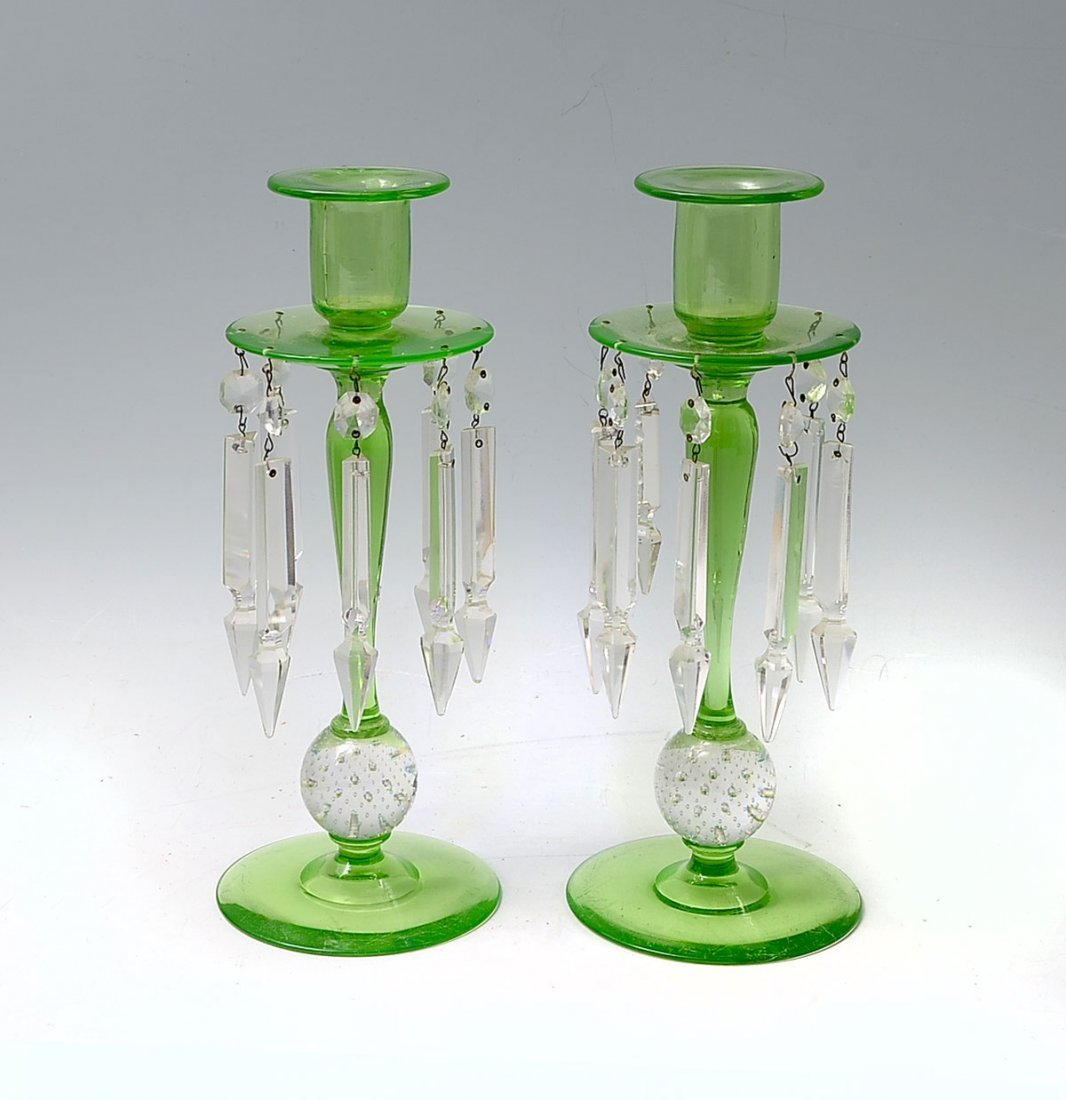 PAIR OF PAIRPOINT PRISIMED VASELINE CANDLESTICKS