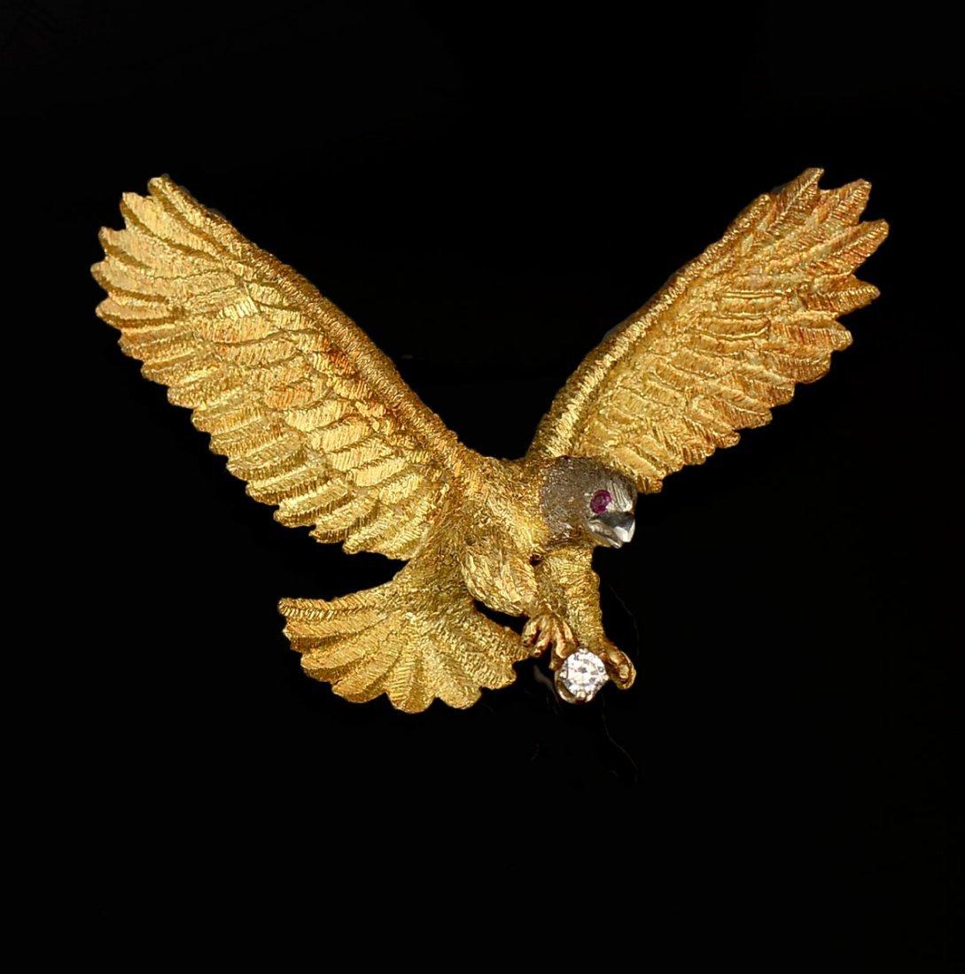 18K GOLD DIAMOND SET EAGLE IN FLIGHT PIN / BROOCH