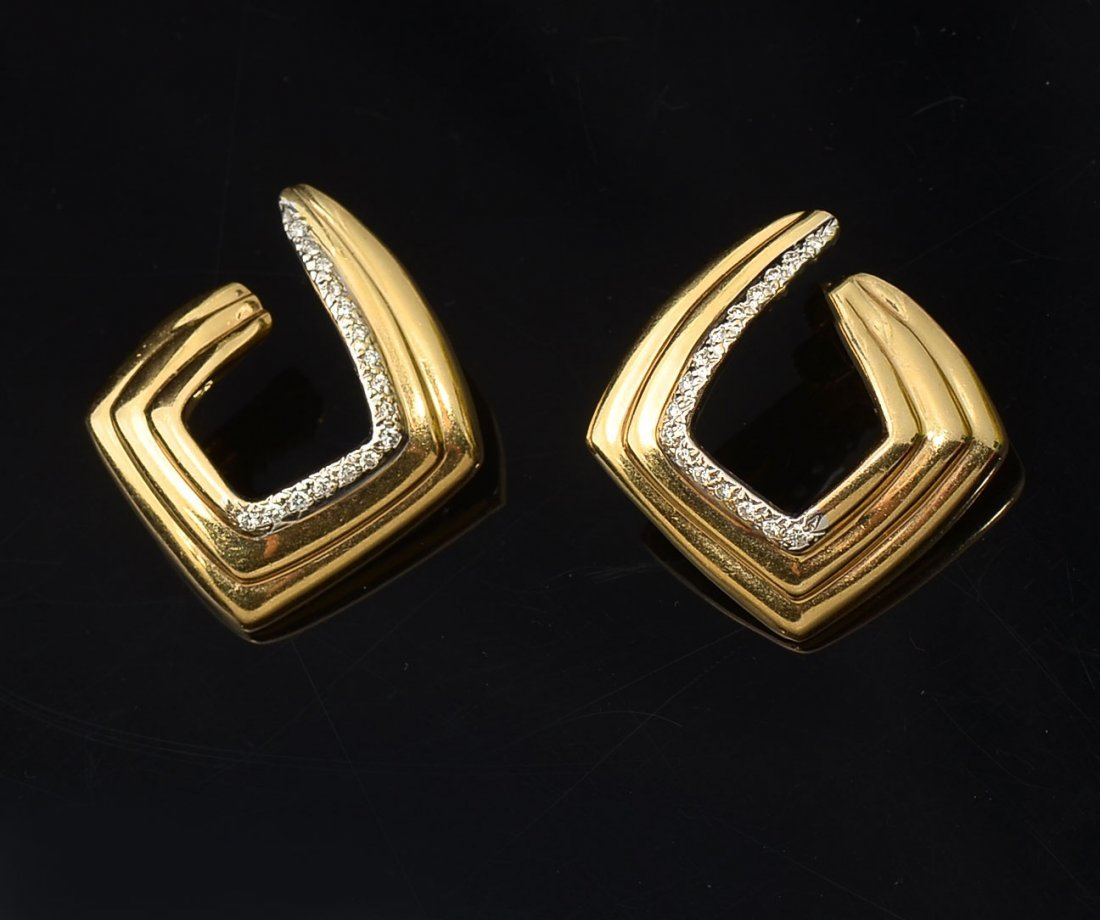 14K RIBBED GOLD AND DIAMOND EARRINGS