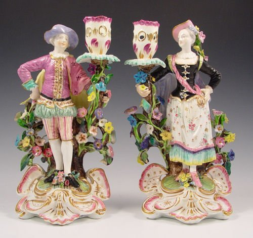 5: PAIR MEISSEN PORCELAIN FIGURAL CANDLE HOLDERS