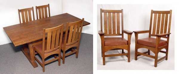 6: HILE ARTS & CRAFTS TRESTLE DINING TABLE 6 CHAIRS