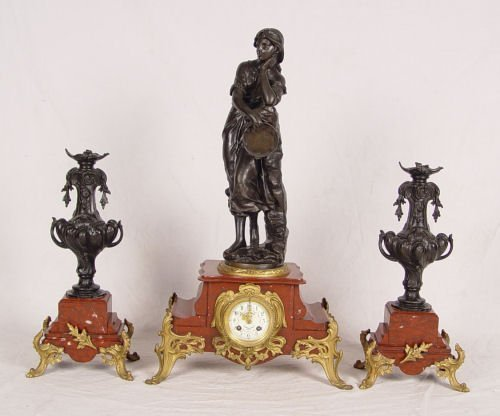 13: 3PC FRENCH BOHEMIENNE PRATT CLOCK GARNITURE