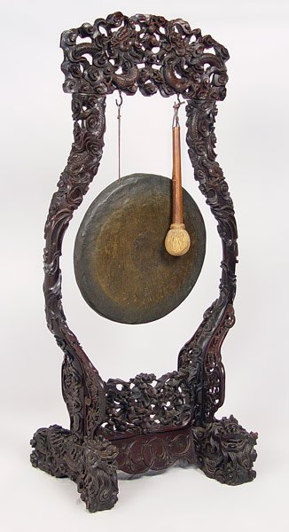15: 4 ft CHINESE BRONZE GONG / CARVED EBONY FLOOR STAND