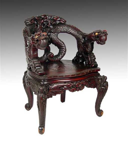 - 18: 19TH C CHINESE CARVED DRAGON CHAIR
