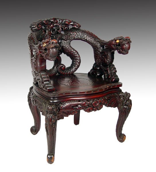 18: 19TH C CHINESE CARVED DRAGON CHAIR
