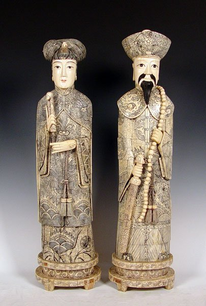 19: 40'' TALL IVORY / BONE CLAD CHINESE FIGURES
