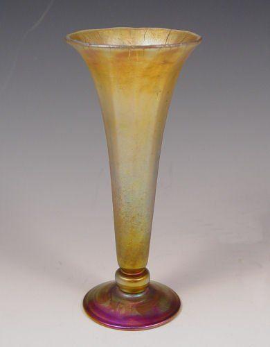 TIFFANY FAVRILE ART GLASS TRUMPET VASE 7.25''