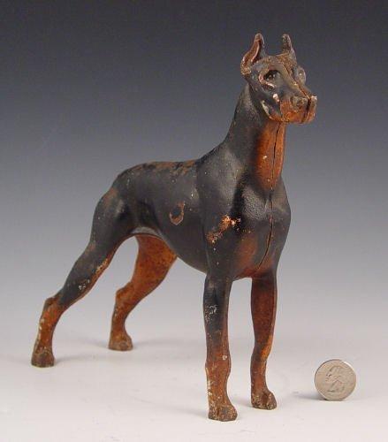 1003: HUBLEY CAST IRON DOBERMAN DOG FIGURAL DOORSTOP