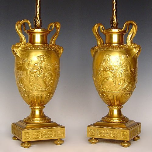 1004: PR 19th C BARBEDIENNE FRENCH BRONZE URN LAMPS