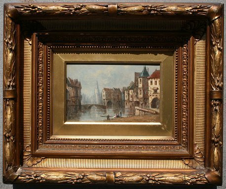 1019: ILLEGIBLY SIGNED PAINTING AMSTERDAM?