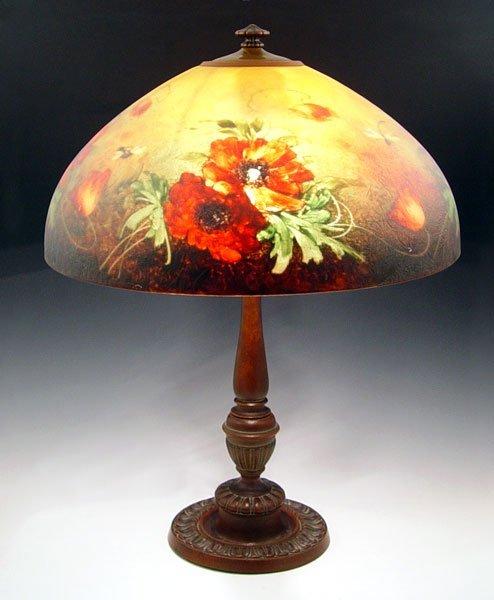 1048: JEFFERSON REVERSE PAINTED POPPY  & DRAGONFLY LAMP
