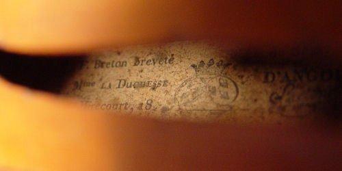 1101A: 1860'S FRENCH BRETON VIOLIN & LIEPZIG BOW - 5