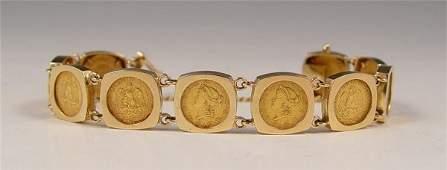 1312 382 grams 14k GOLD COIN BRACELET  PESOS  US