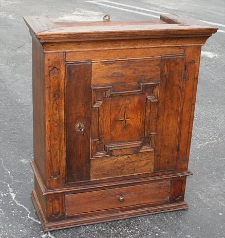 1017: EARLY ENGLISH WALL MOUNT SPICE CABINET