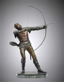 LARGE MEDIEVAL ARCHER BRONZE BY TOURGUENEFF