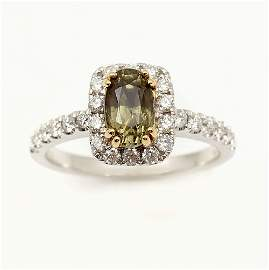 18K 1.49 CT ALEXANDRITE & DIAMOND RING