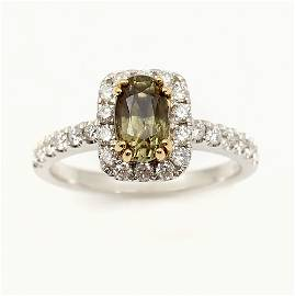 18K 1.49 CT ALEXANDRITE & DIAMOND RING