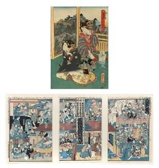 JAPANESE WOODBLOCKS TRIPTYCH GEISHAS