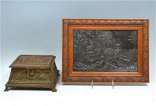 2 PC EMBOSSED EUROPEAN PLAQUE AND FOOTED BOX