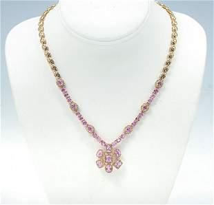 14K PINK SAPPHIRE DIAMOND NECKLACE