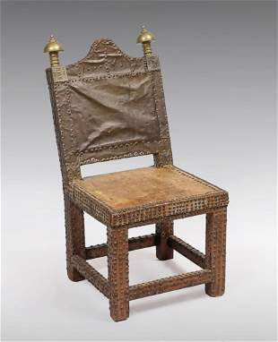 MOROCCAN LEATHER COPPER BRASS CHAIR