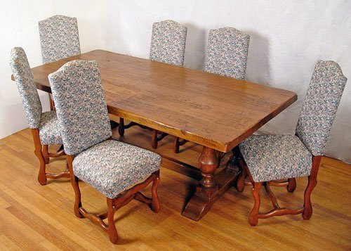 10: TAVERN TRESTLE TABLE WITH 6 CHAIRS
