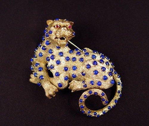 11: 58 grams 14K LAPIS JAGUAR CAT FIGURAL BROOCH