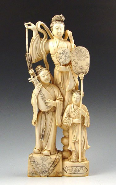 """2: CHINESE CARVED IVORY FIGURAL GROUP   11""""h"""