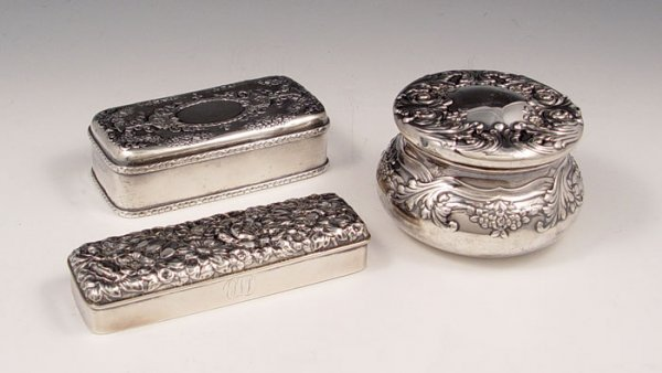 3: 3 STERLING REPOUSSE POWDER JARS INCLUDING TIFFANY