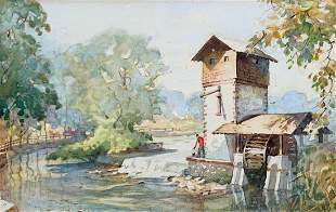 LAWRENCE BLAIR RED MILL NEW JERSEY PAINTING
