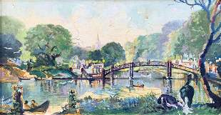 UNSIGNED IMPRESSIONIST RIVERSIDE PAINTING