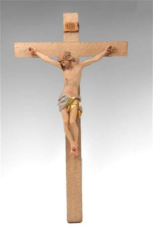 CARVED AND PAINTED WOODEN CRUCIFIX