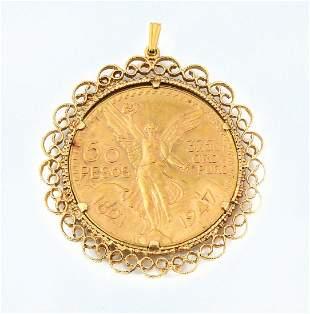 1821-1947 50 PESOS GOLD COIN PENDANT WITH FRAME