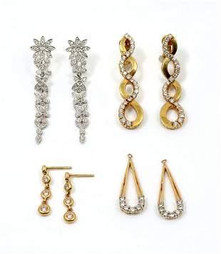 LOT OF 4 PAIR DIAMOND EARRINGS